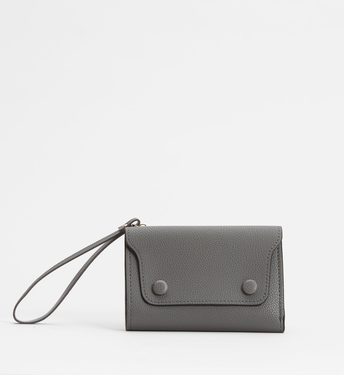 Small Flap Wristlet Wallet,Grey Front