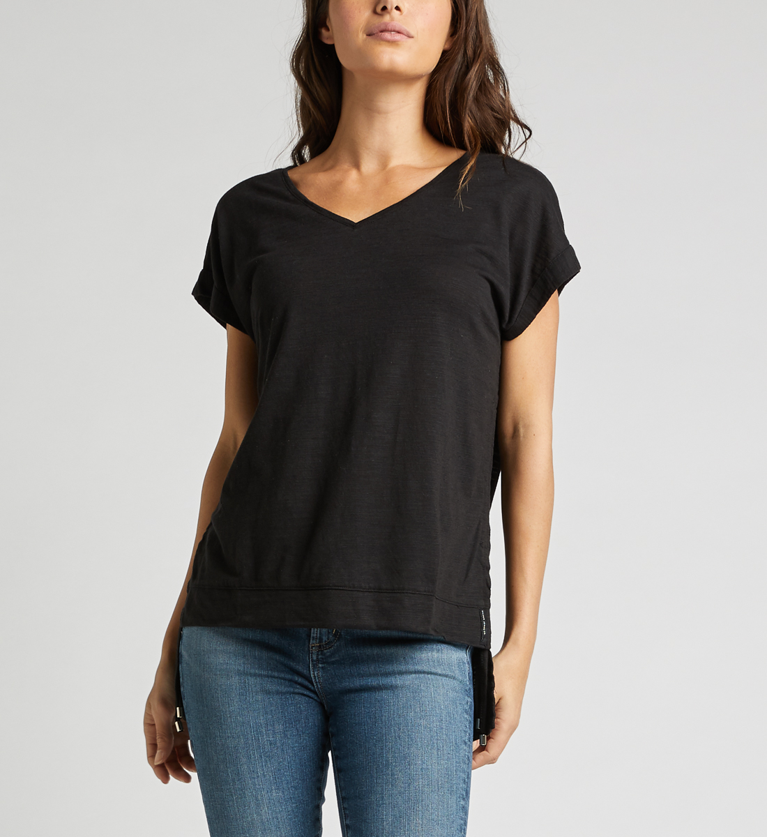 Agnes Side Tie Top,Black Front