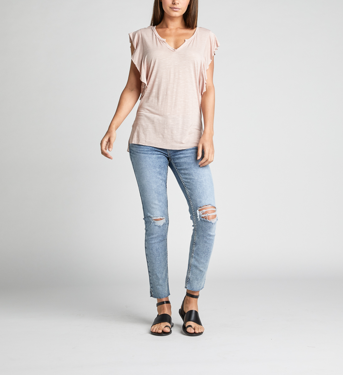 Athena Ruffle-Sleeve Tee,Light Rose Back