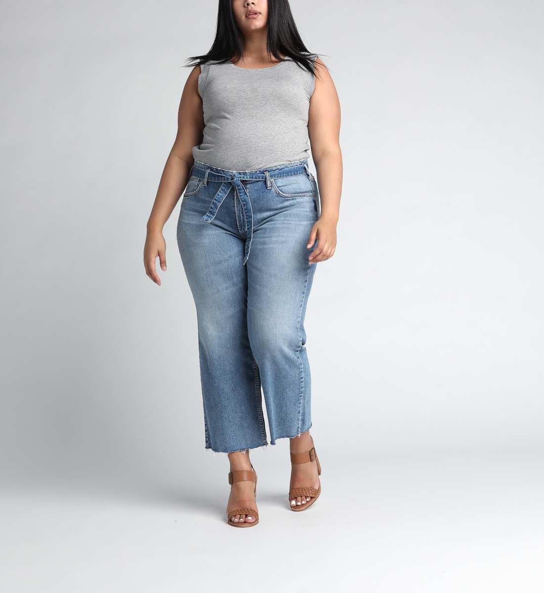 Tied and Wide High Rise Wide Leg Jeans Plus Size Alt Image 1