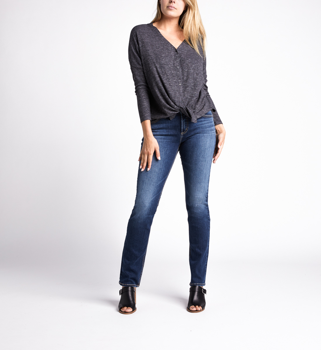 Amelia Button-Front Top,Charcoal Back
