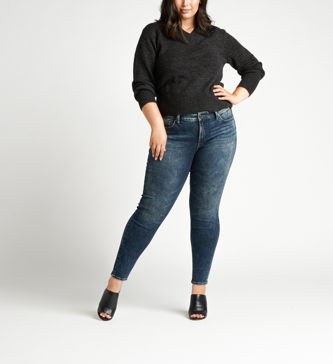 Elyse Mid Rise Skinny Plus Size Jeans Front