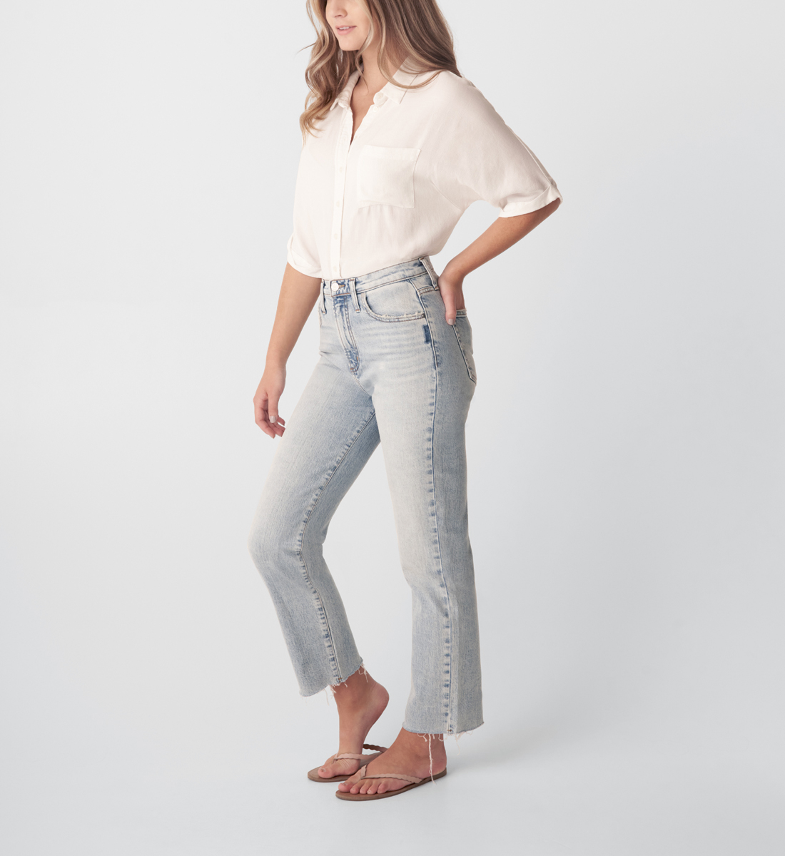 Highly Desirable High Rise Straight Leg Jeans Side