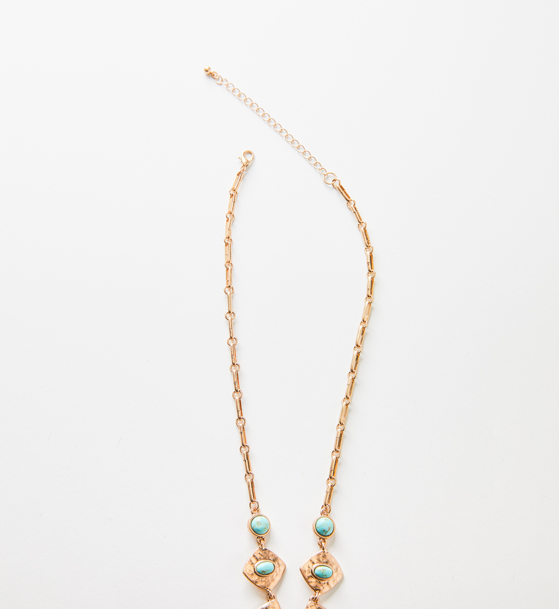 Gold-Tone Hammered Turquoise Necklace Side