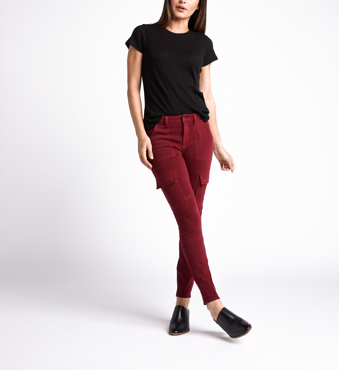 Cargo Mid Rise Skinny Leg Jeans,Red Front