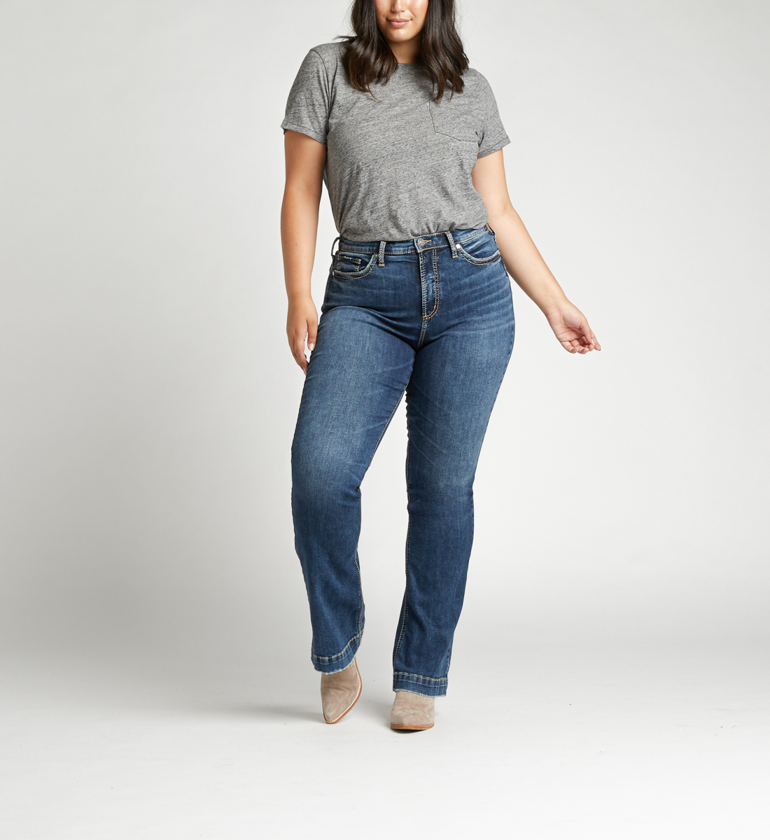 Calley Super High Rise Bootcut Plus Size Jeans Front
