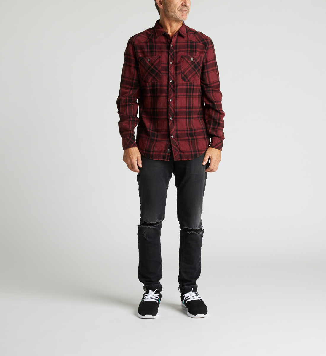 Clement Long-Sleeve Plaid Shirt Back
