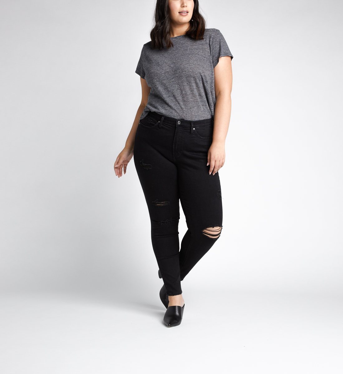 Calley High Rise Skinny Leg Jeans Plus Size,Black Front