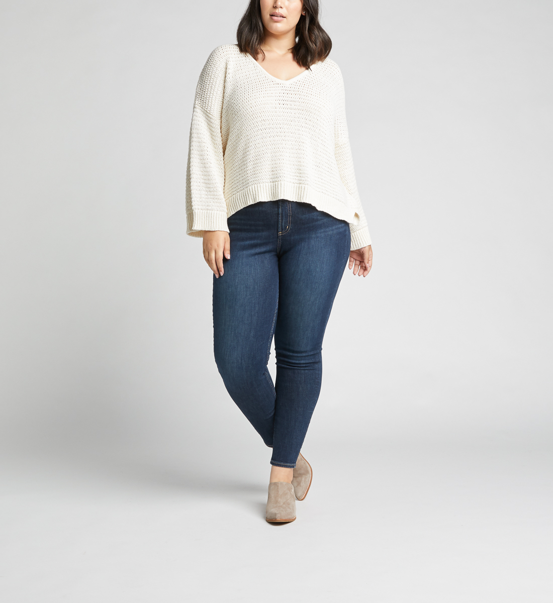 Calley High Rise Skinny Leg Jeans Plus Size,Indigo Front
