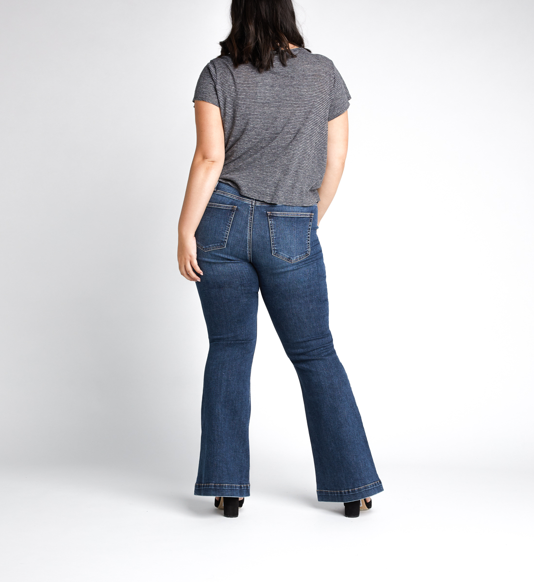 High Note High Rise Flare Jeans Plus Size,Indigo Back