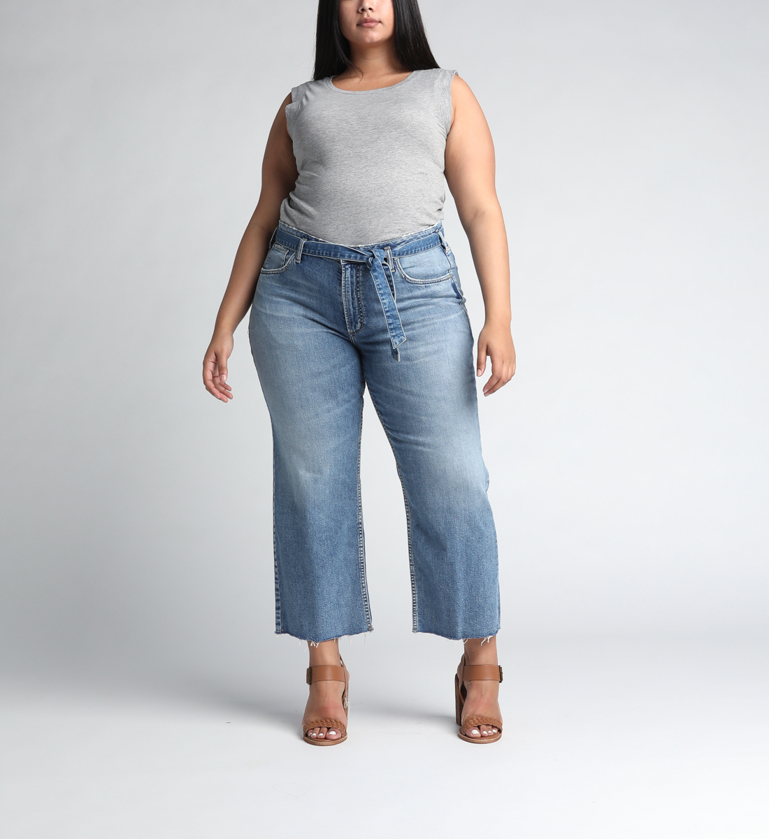 Tied and Wide High Rise Wide Leg Jeans Plus Size Front
