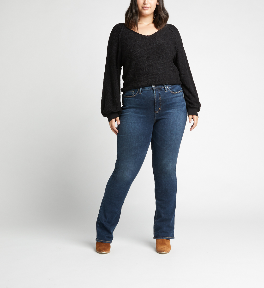 Calley High Rise Slim Bootcut Jeans Plus Size,Indigo Front