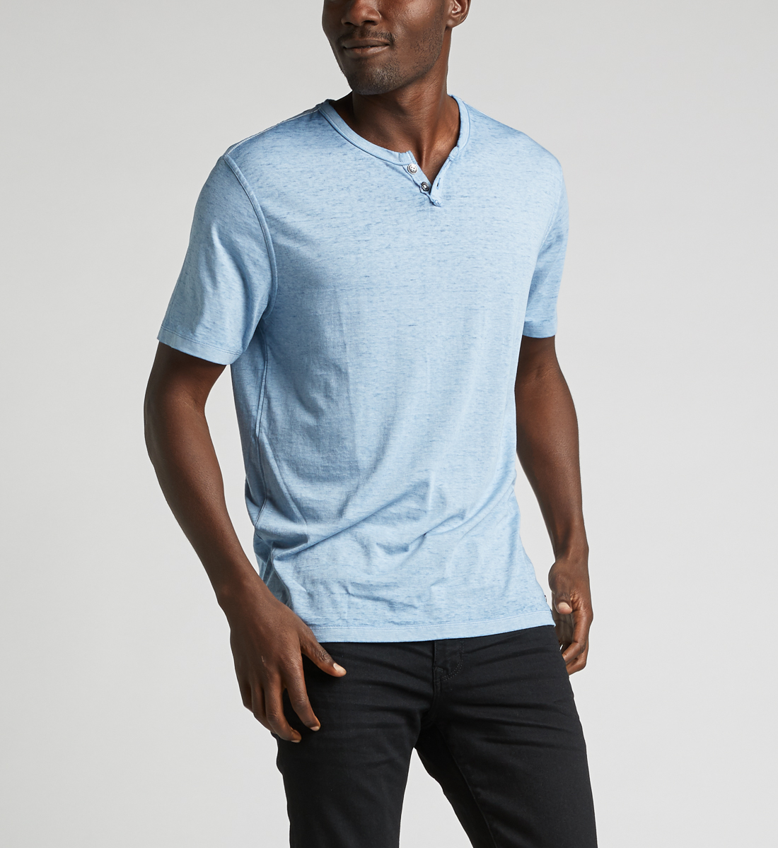 Kaleo Henley Tee,Light Blue Front