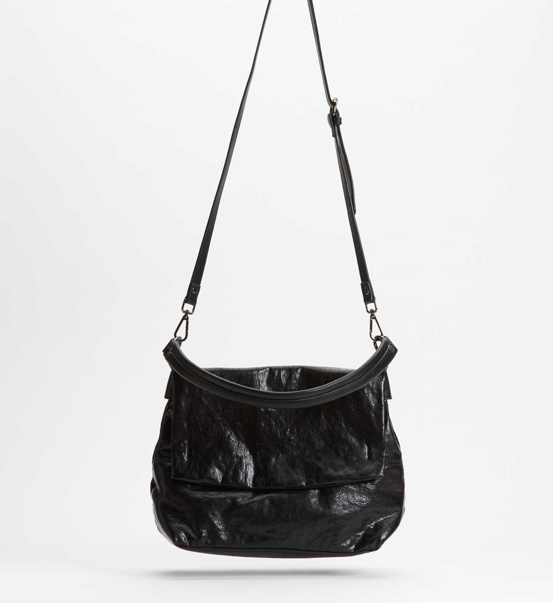 Flap Satchel,Black Front