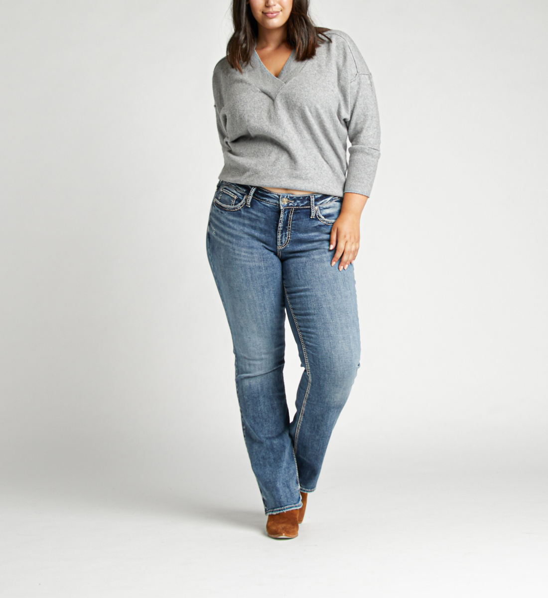 Elyse Mid Rise Bootcut Plus Size Jeans Front
