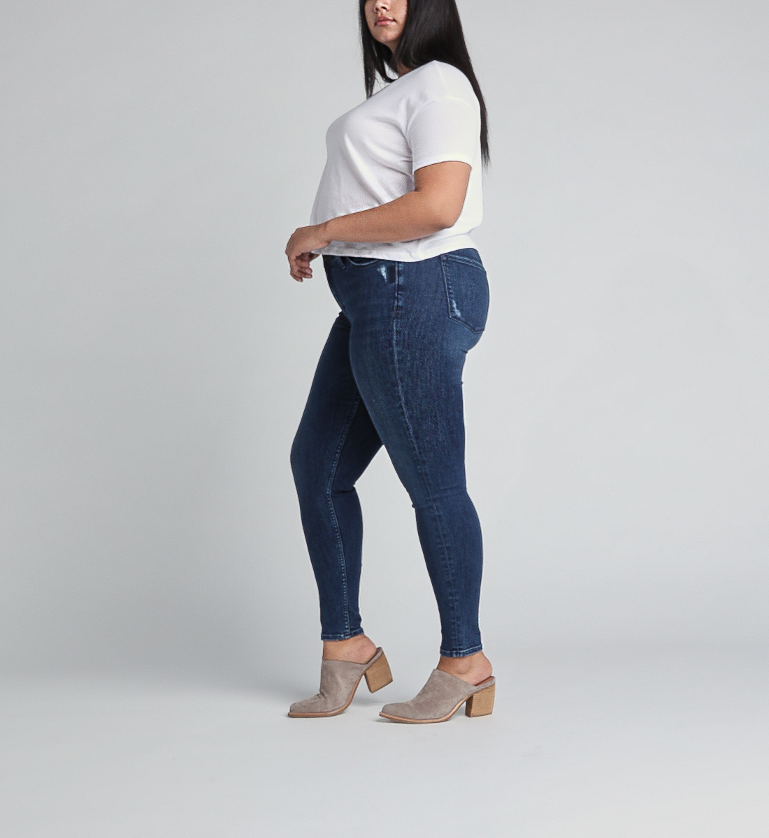 Most Wanted Mid Rise Skinny Leg Jeans Plus Size,Indigo Side
