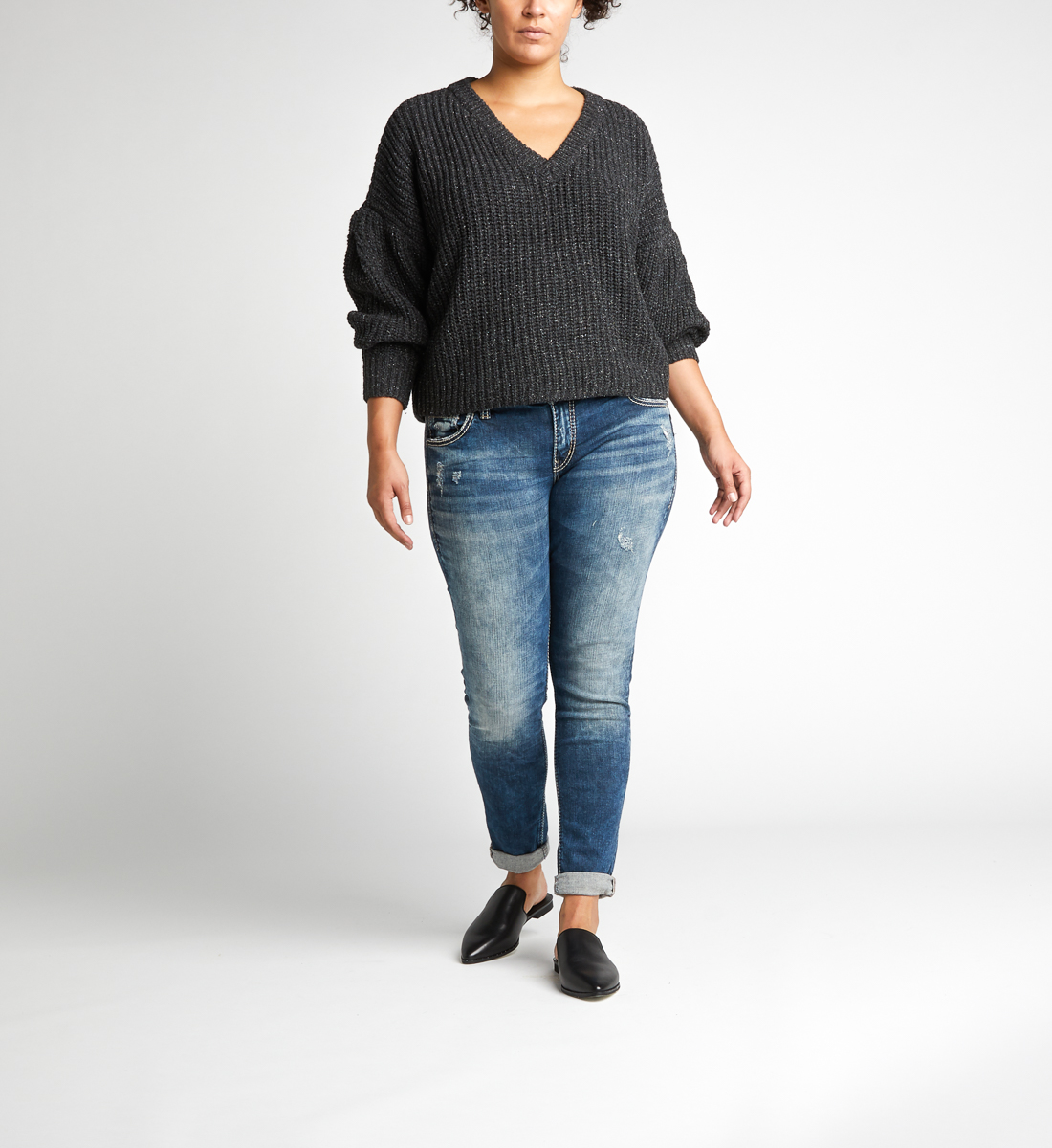 Girlfriend Mid Rise Skinny Leg Jeans Plus Size Front