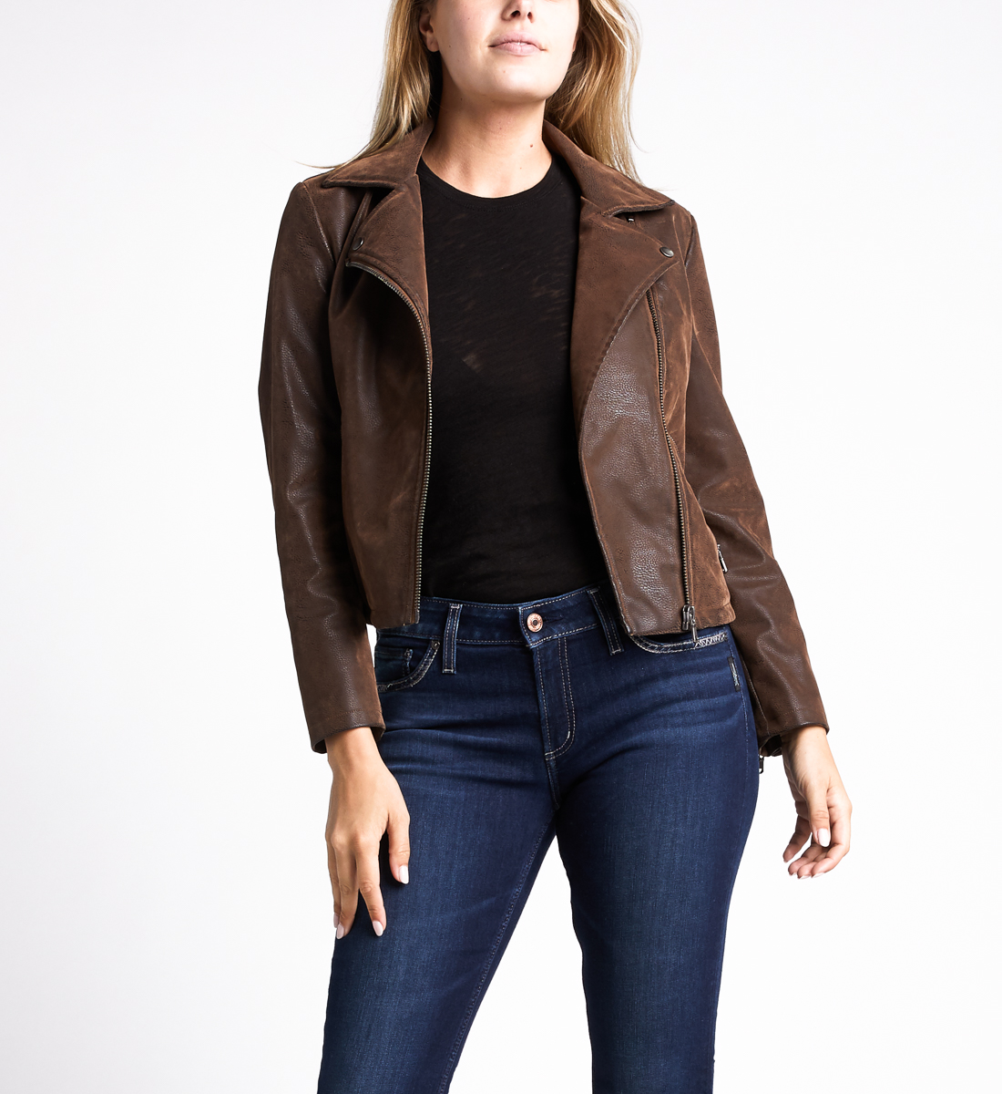 Sibley Faux-Leather Moto Jacket,Brown Front