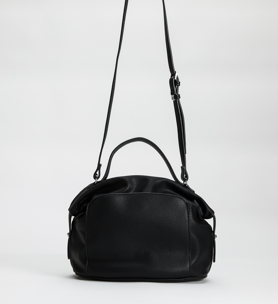 Pebbled Convertible Satchel, Black, hi-res