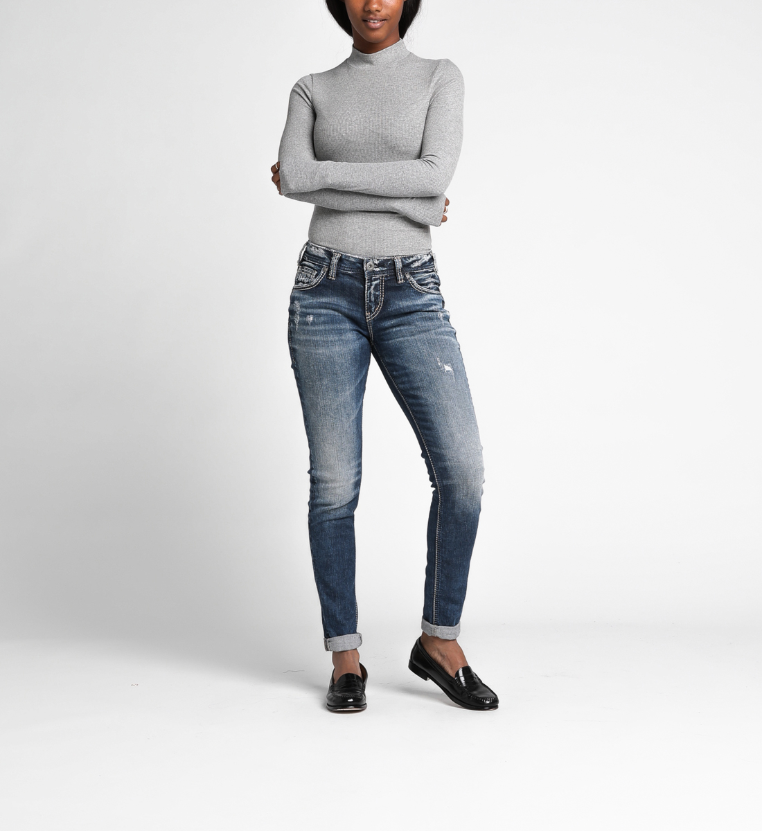 Girlfriend Mid Rise Skinny Leg Jeans Front