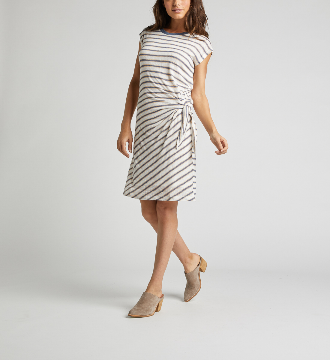 Arlene Side-Knot Striped Dress,White Back