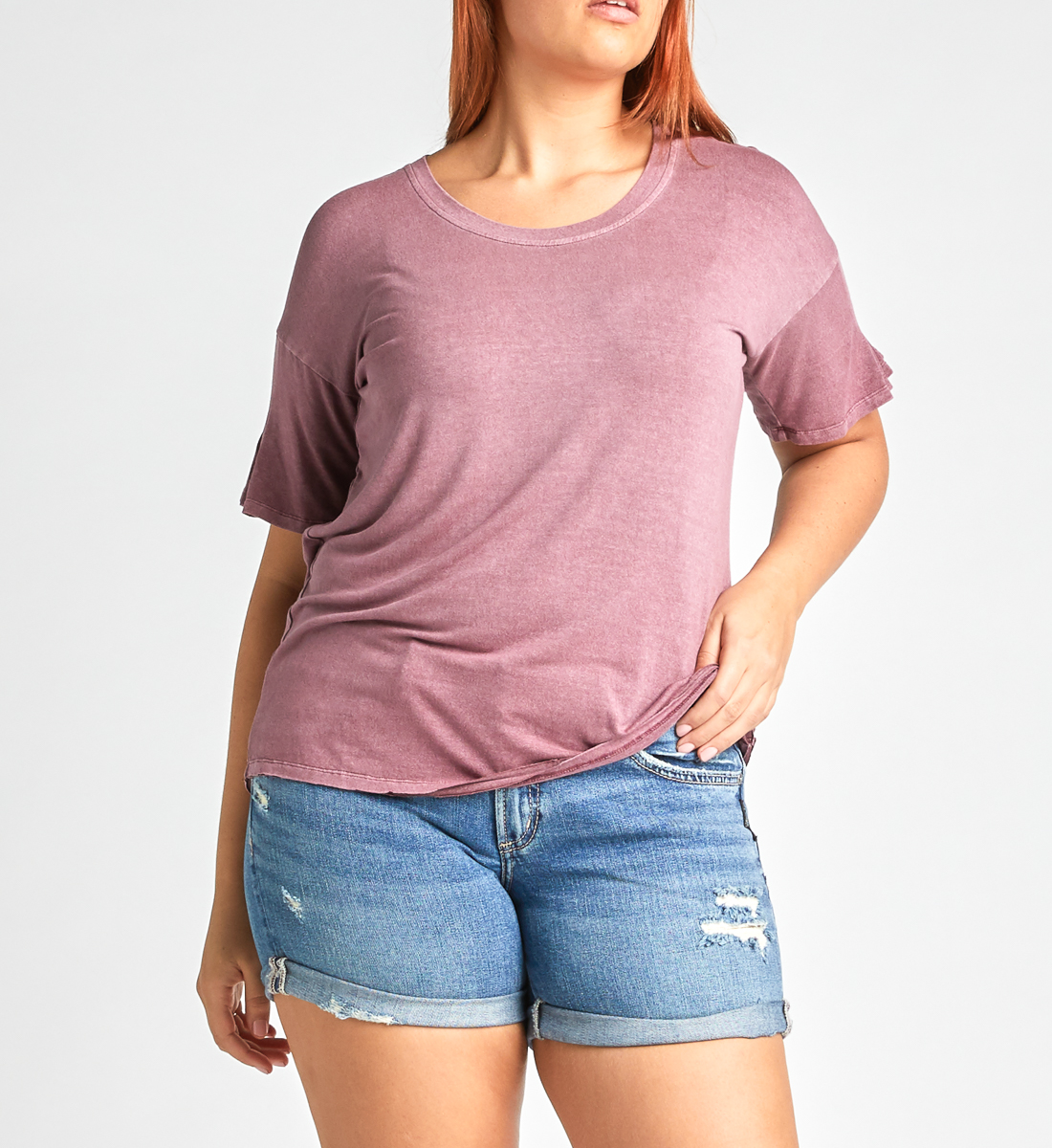 Alice Pleated-Sleeve Tee,Dark Rose Front