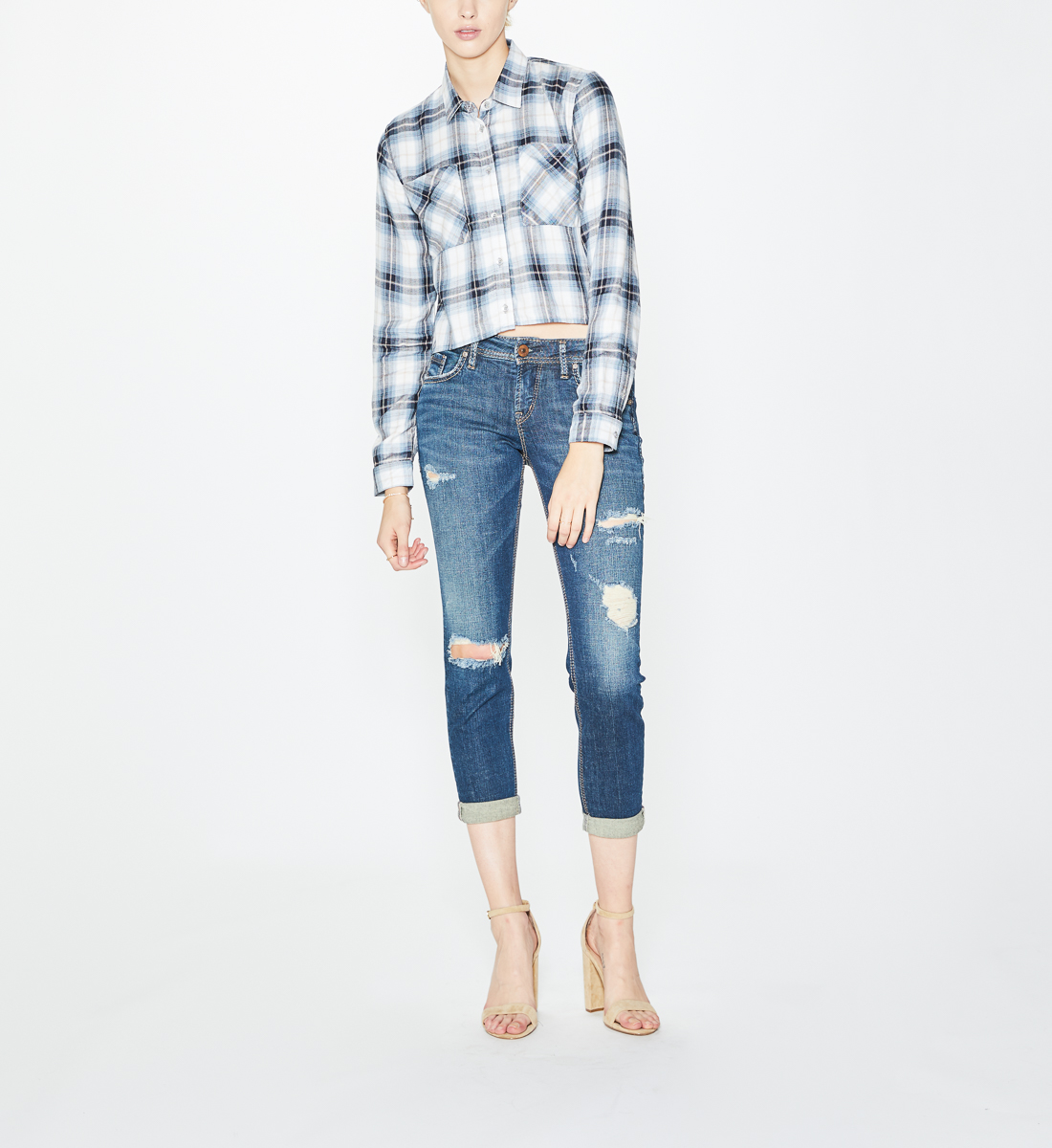 Sawyer Plaid Crop Top, Blue, hi-res