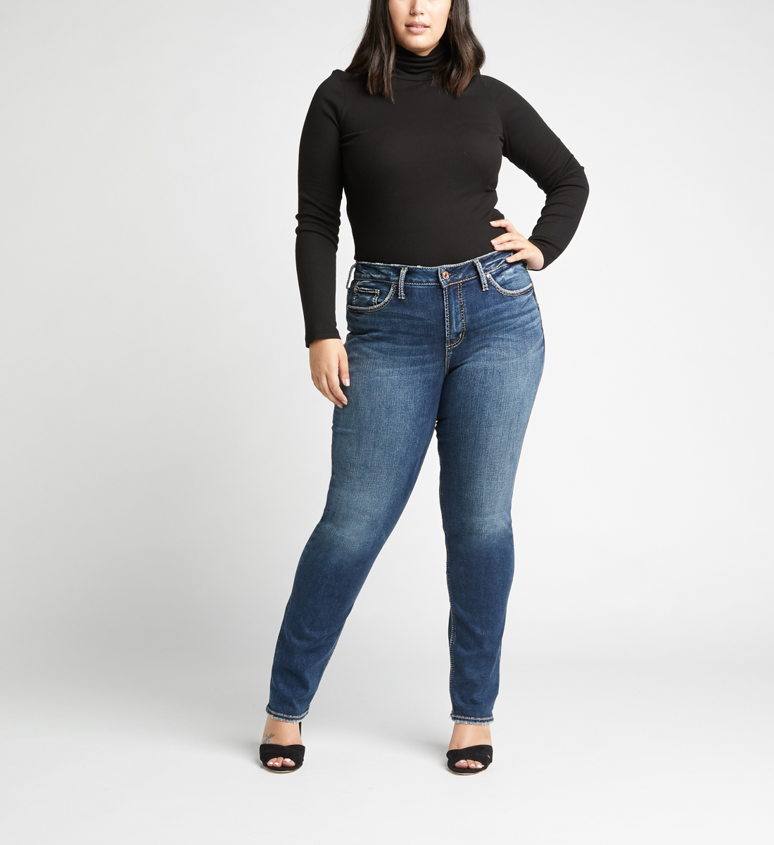 Avery High Rise Straight Leg Plus Size Jeans Front