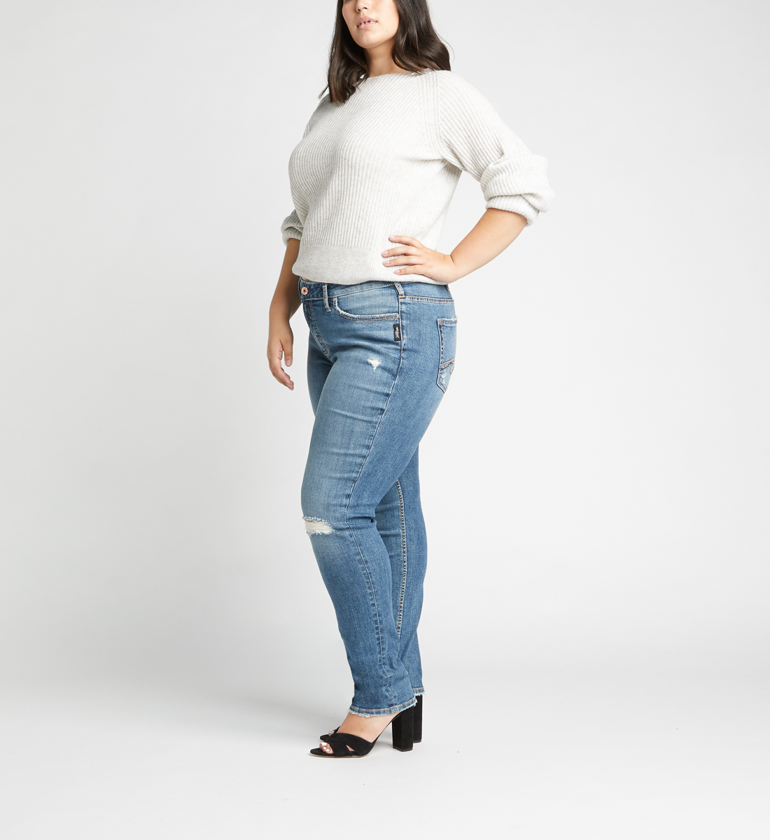 Avery High Rise Slim Leg Jeans Plus Size,Indigo Side