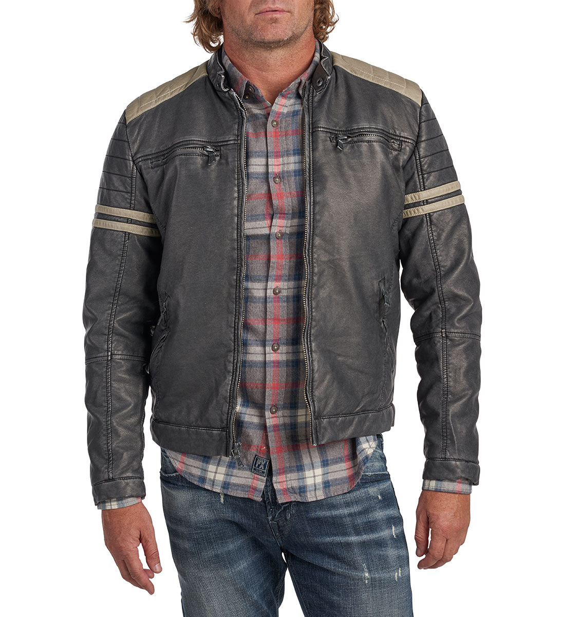 Bruno Faux-Leather Racing Jacket Front