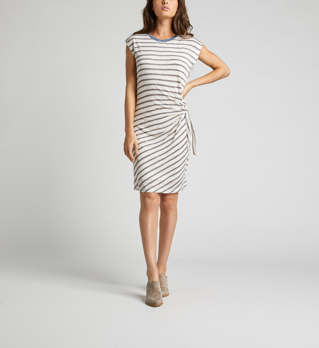 Arlene Side-Knot Striped Dress,White Front