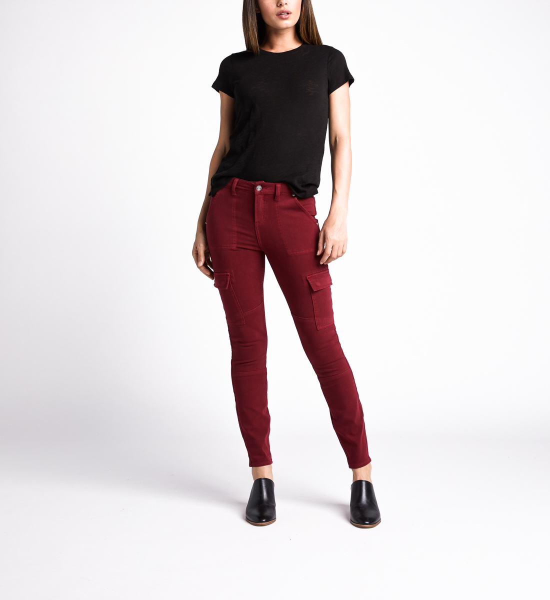 Cargo Mid Rise Skinny Leg Jeans,Red Alt Image 1