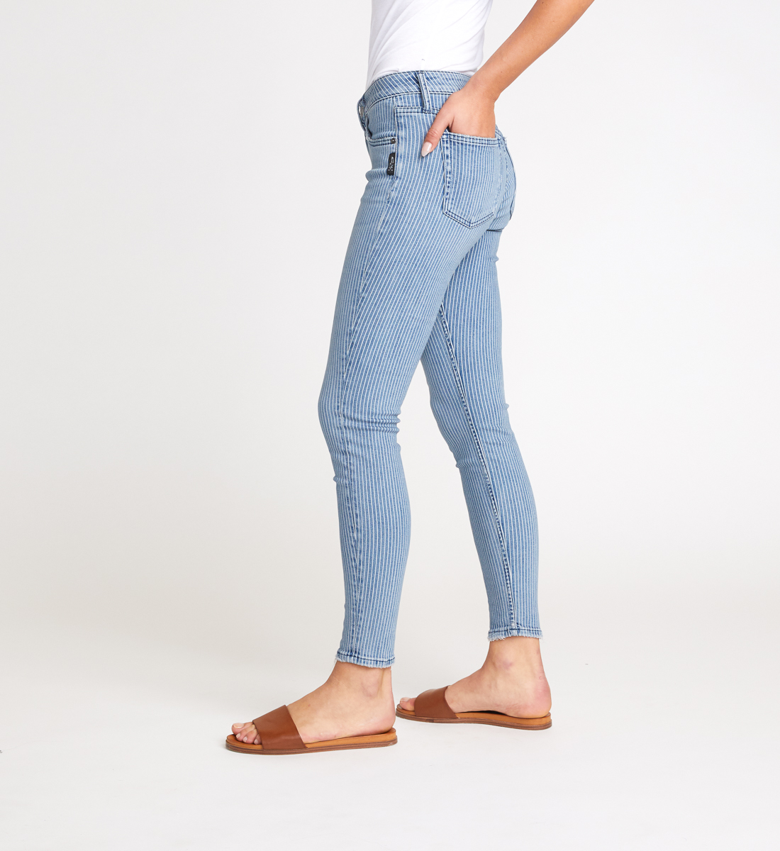 Avery High Rise Pinstripe Skinny Jeans Side
