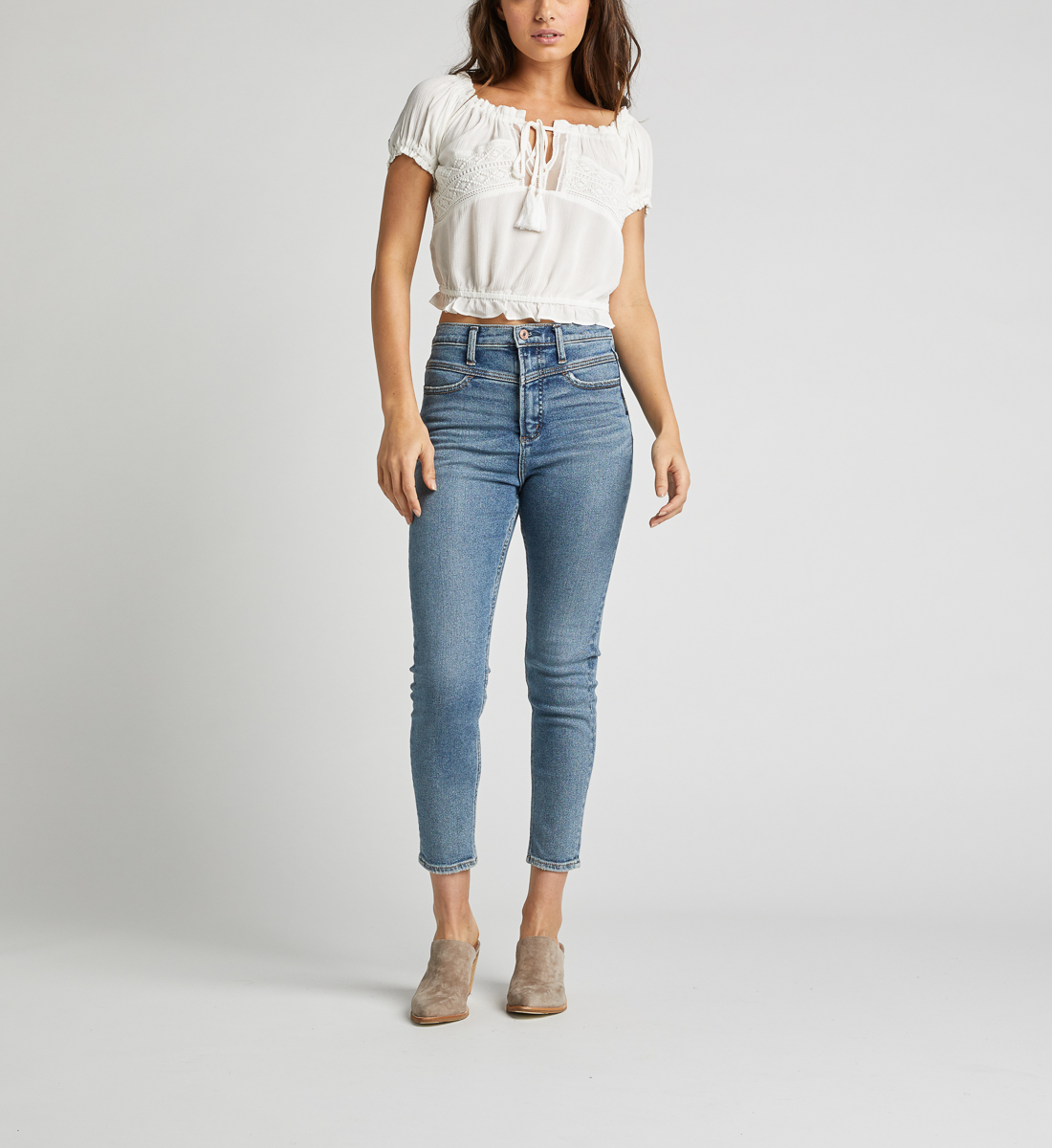 Stacey Off-The-Shoulder Crop Top,Off White Back