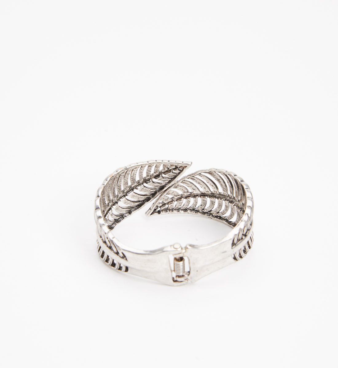Silver-Tone Feather Cuff Bracelet, , hi-res