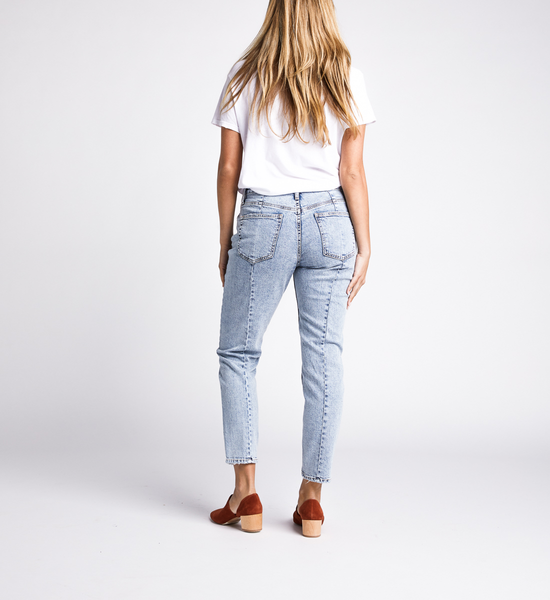 Frisco High Rise Tapered Leg Jeans,Indigo Back