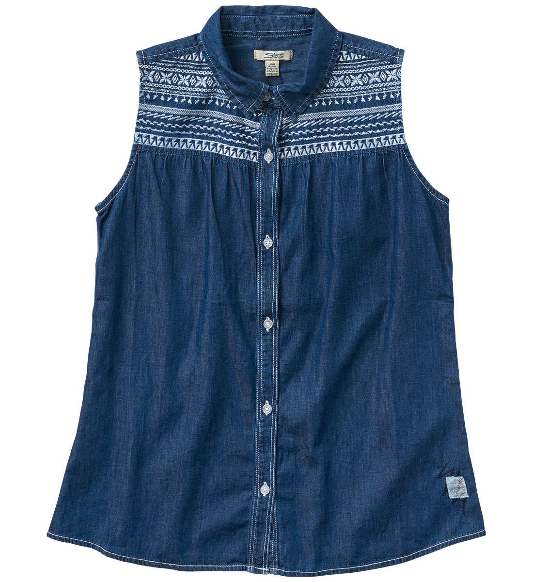 Sleeveless Denim Blouse (4-7), , hi-res