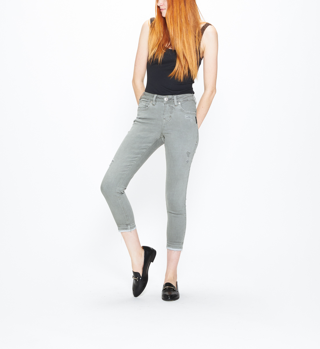 5ebb9201 Avery Skinny Crop Color Wash | Silver Jeans