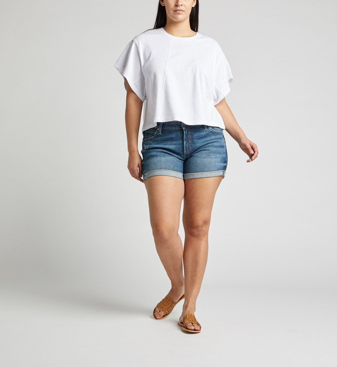 Boyfriend Mid Rise Short Plus Size, , hi-res
