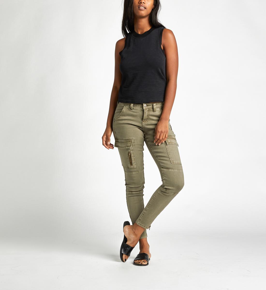 dd7cbbea Skinny Cargo Mid Rise Skinny Leg Pants, Olive, hi-res