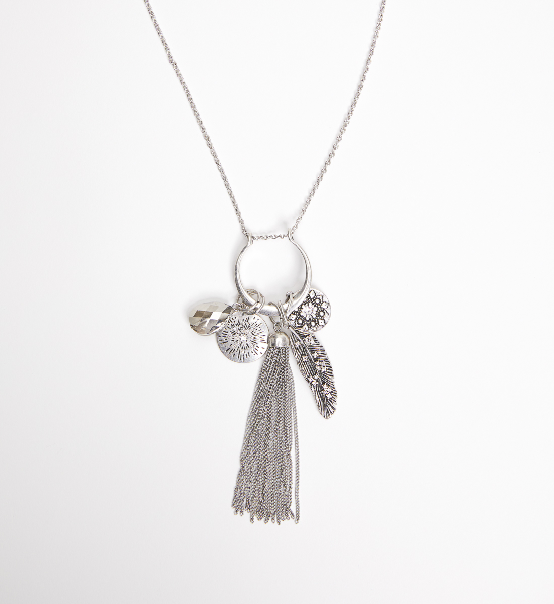 Silver-Tone and Blue Long Tassel Necklace, , hi-res