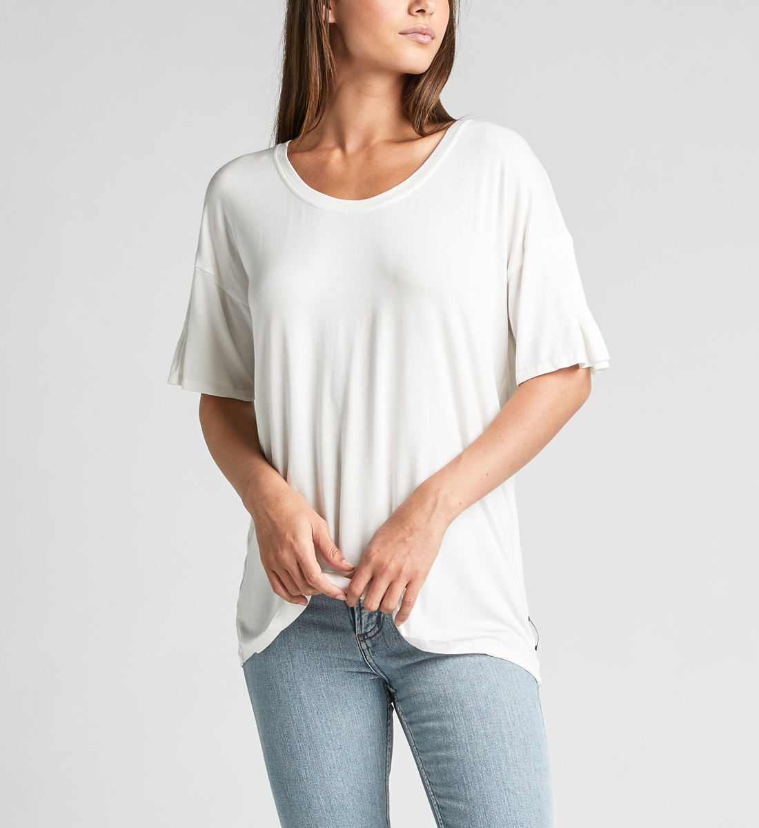 Alice Pleated-Sleeve Tee,Warm White Front