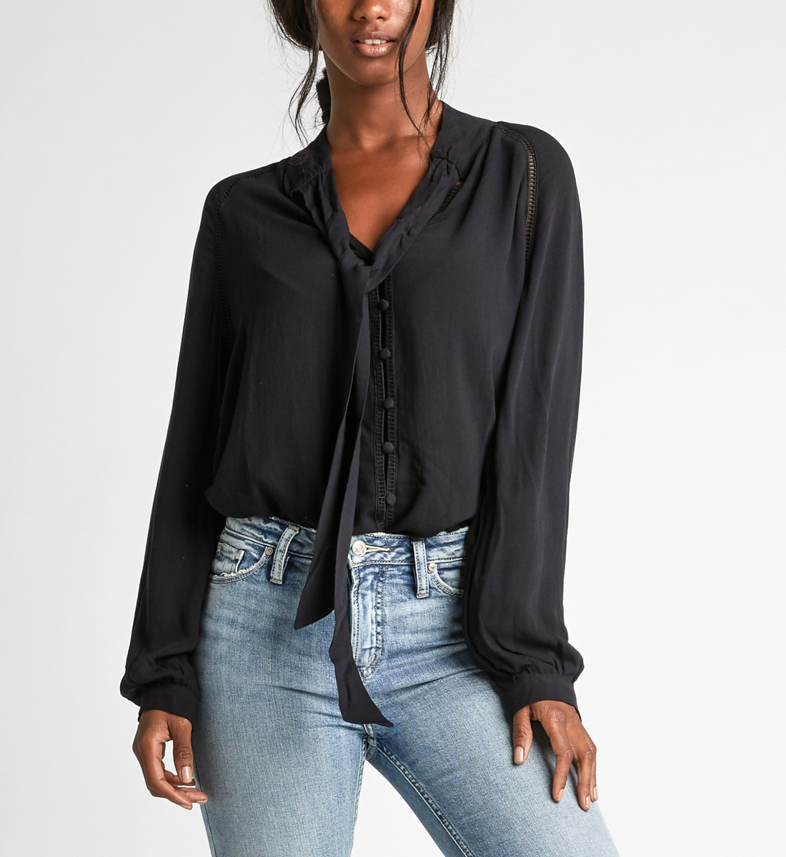 Salma Pussy-Bow Embroidered Blouse Front