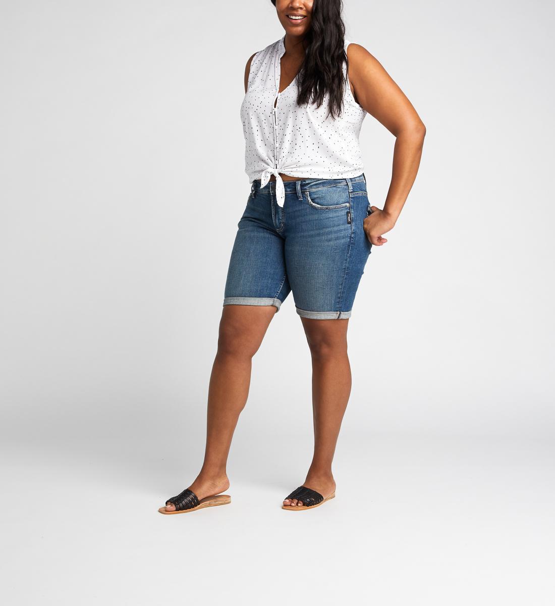 66d1df5e98 Elyse Mid Rise Bermuda Short Plus Size, , hi-res. SKU # W53015SJL373. Silver  Jeans
