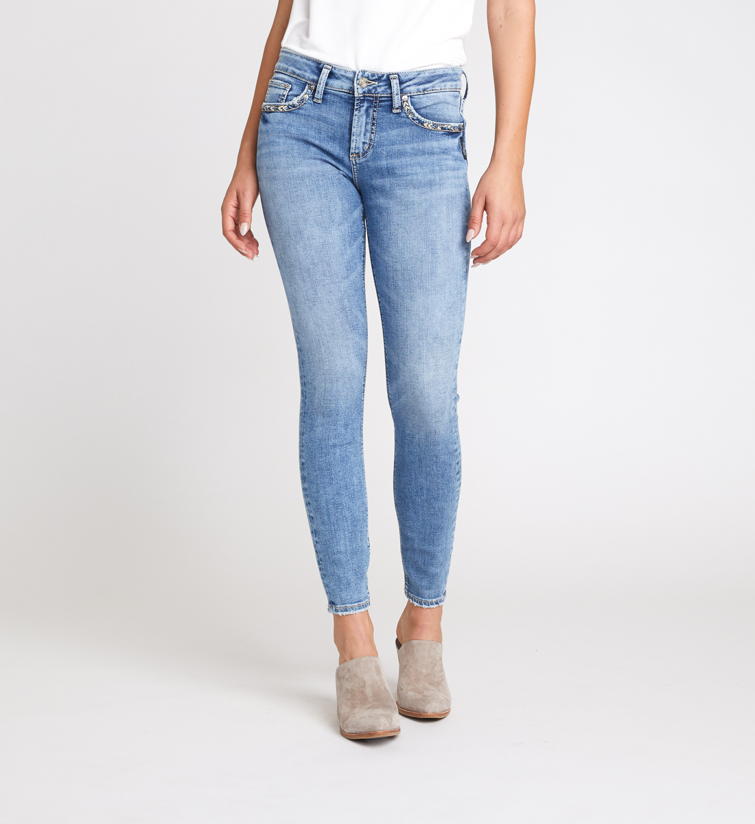 Elyse Mid Rise Skinny Jeans Front