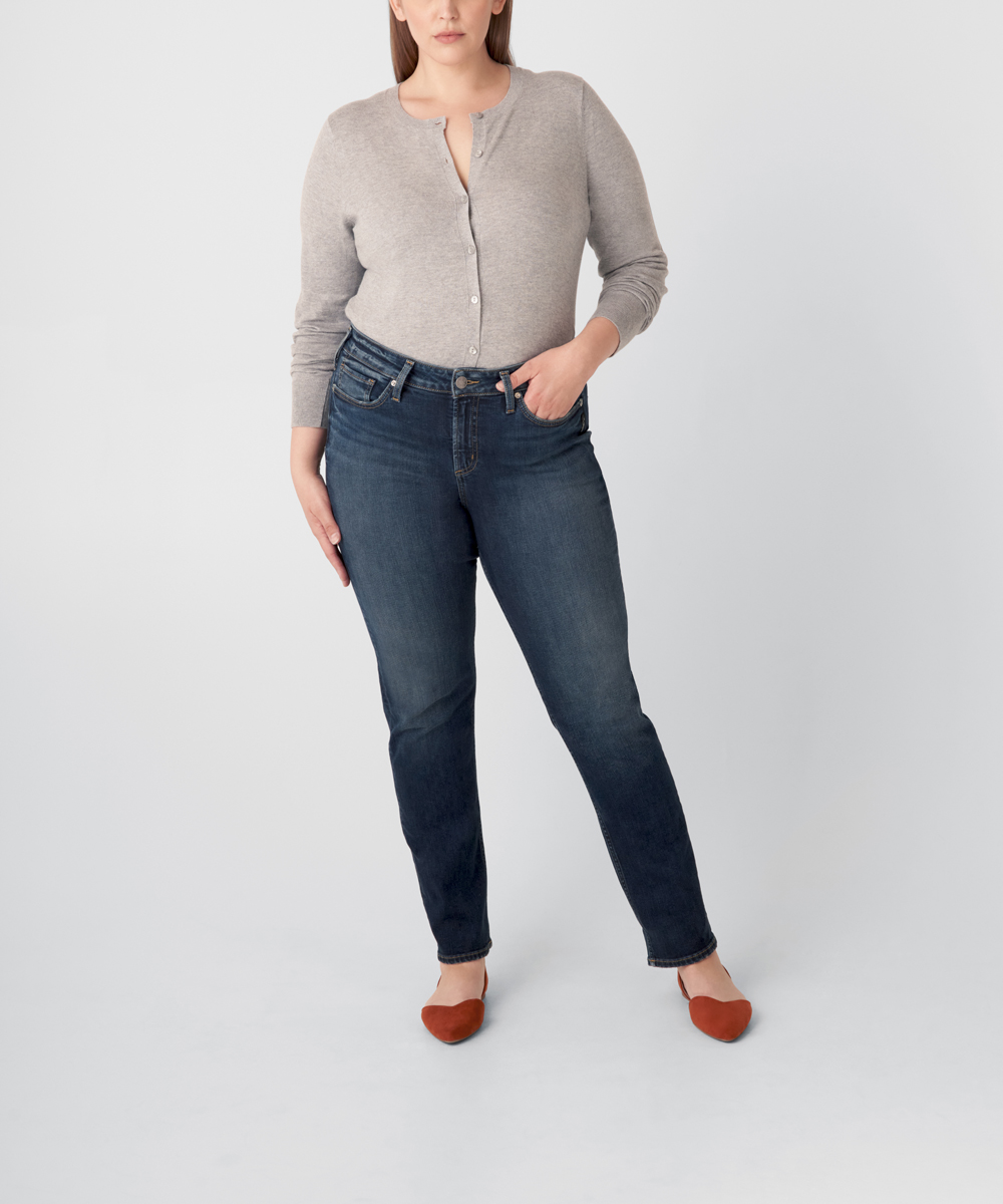 Avery High Rise Straight Leg Jeans Plus Size - Eco-Friendly Wash Front