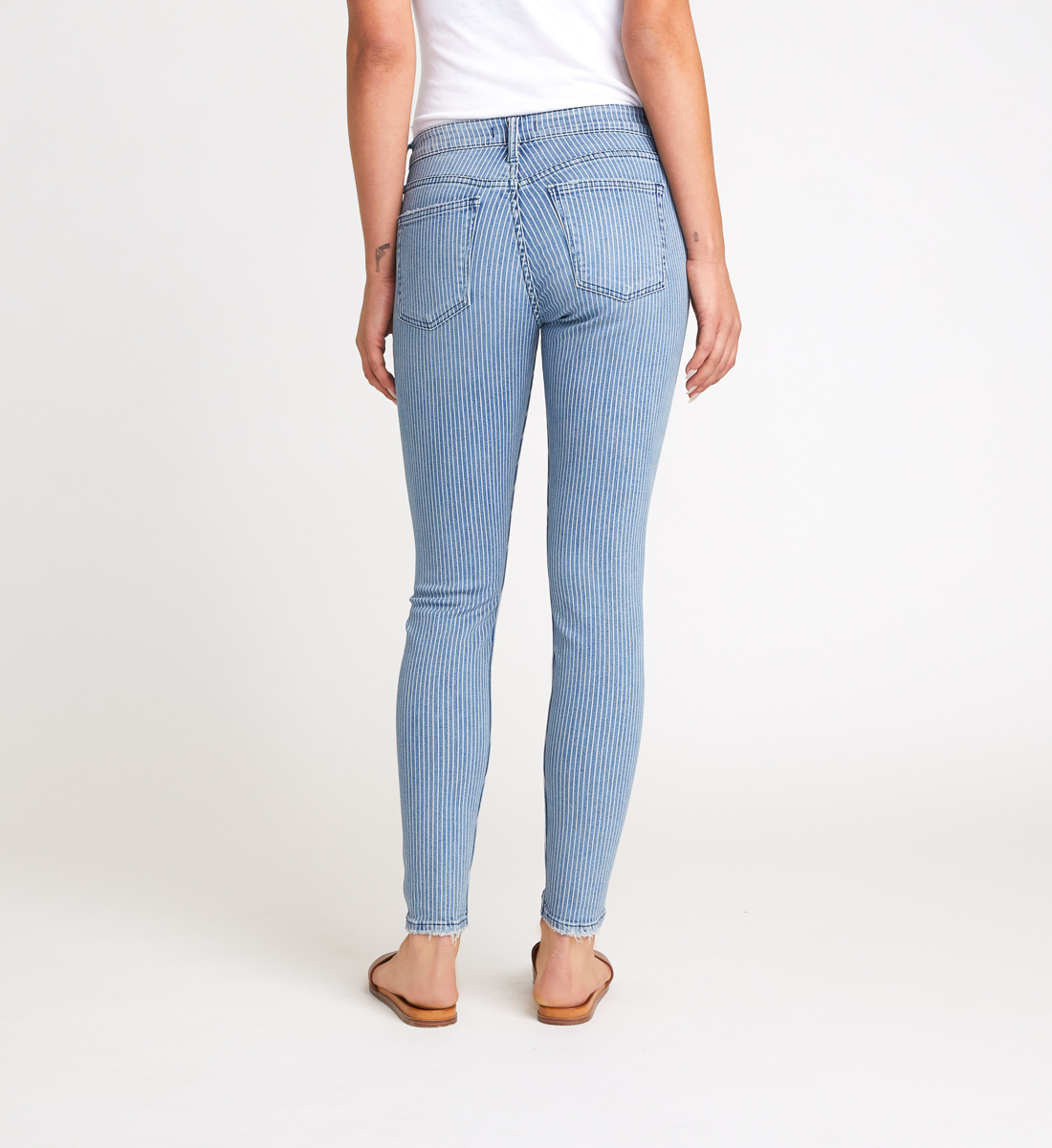 Avery High Rise Pinstripe Skinny Jeans Back