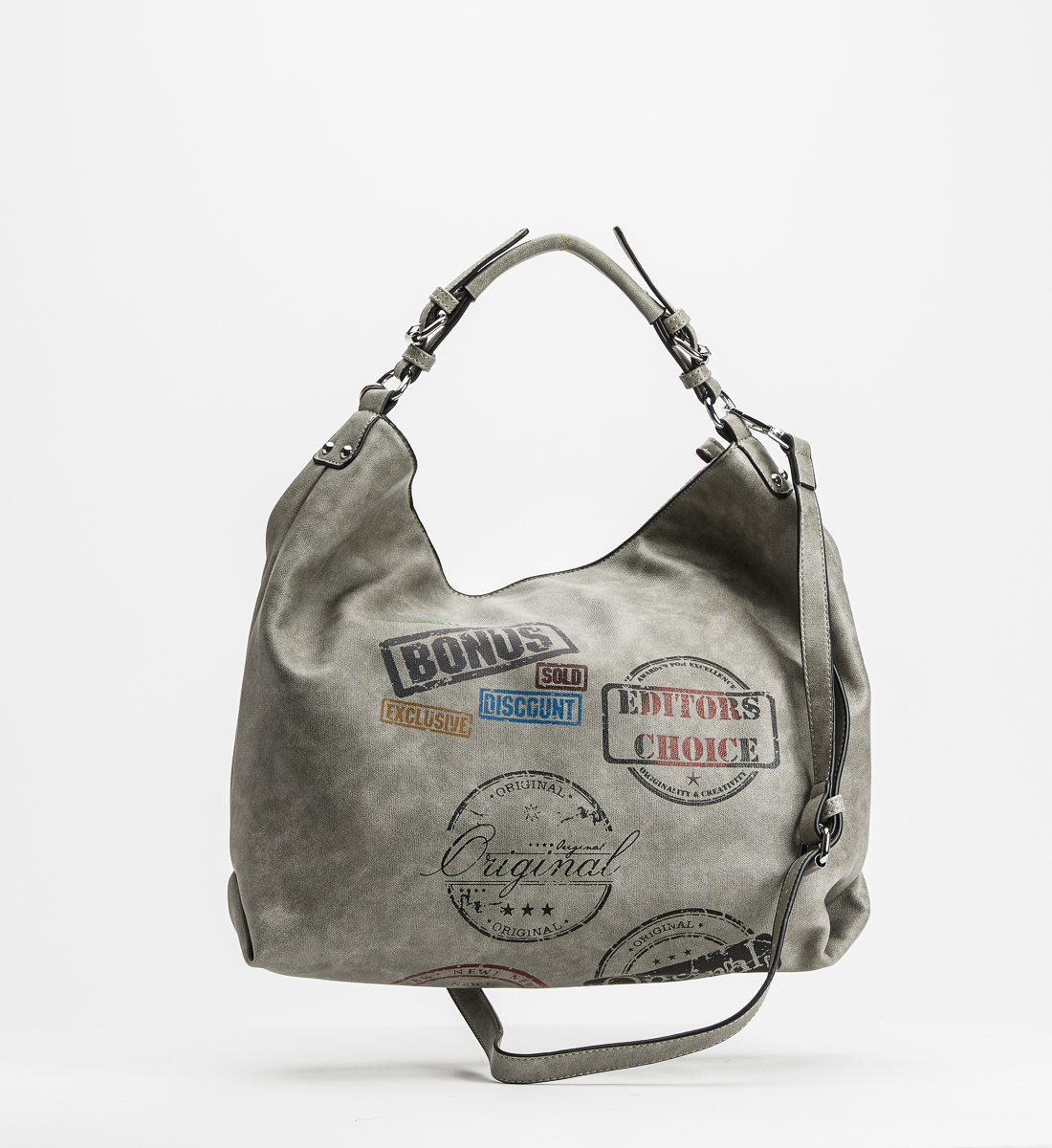 Vintage Print Satchel,Grey Back