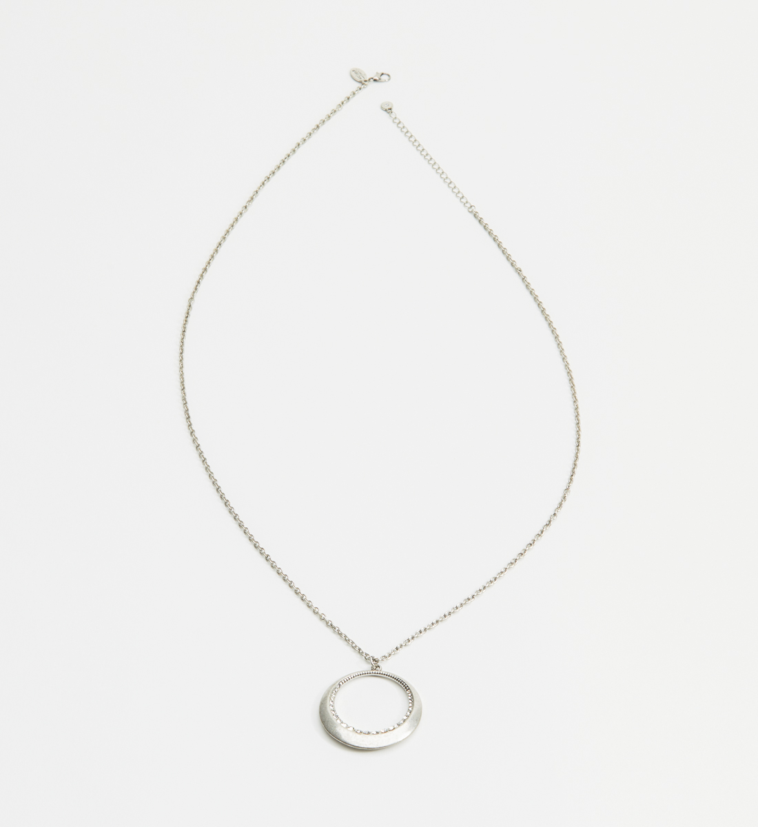Long Ring Pendant Necklace,Silver Front