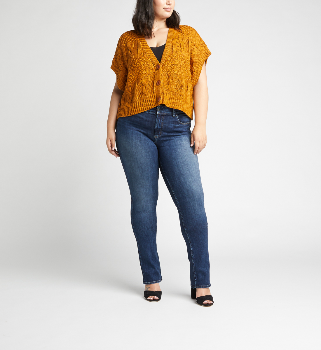 Most Wanted Mid Rise Skinny Bootcut Plus Size Jeans Alt Image 1